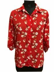 Poyester Red Ladies Printed Shirt, Semi-formal
