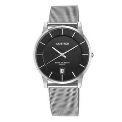 Analog Silver Armitron Deco 38mm Mens 20 5123BKSV Date Function Mesh Bracelet Watch