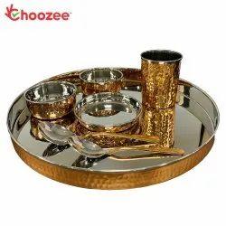 Choozee - Copper Thali Set (7 Pcs) of Thali, Bowl, Spoon & Glass