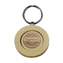 Laserable Wooden Round Keyring