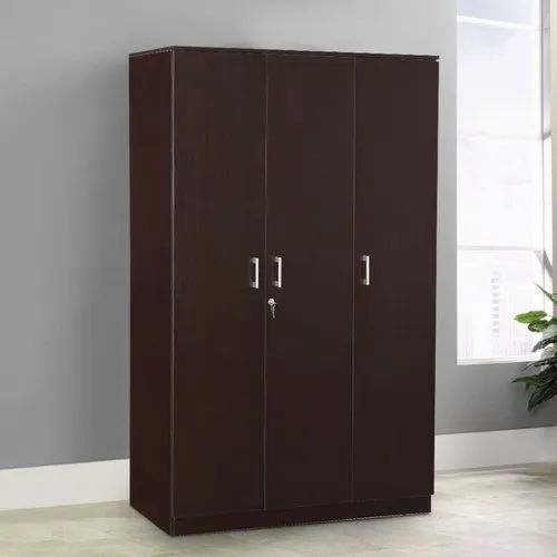 Brown Three Door Wooden Wardrobe for Home, Features: Termite Proof