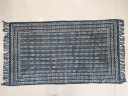 Handwoven Hand Block Printed Blue Indigo Dabu Cotton Designing Rug