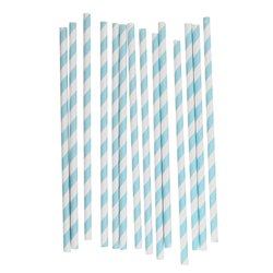 Blue Disposable Striped Paper Straw
