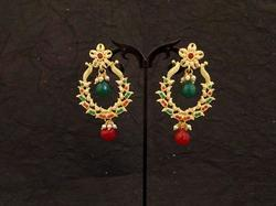 Leaf Dali Decorated Polo Style Antique Earrings