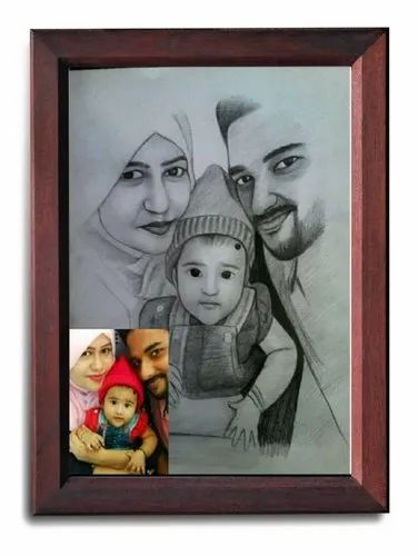 Matte Finish With Frame Wood And Fiber Handmade Pencil drawings (with frame), Size: A4