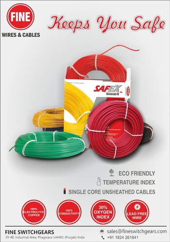 Fine Electric Cable For House Wiring Wire Size 0 75 Sq Mm To 16 00 Sq Mm Rs 570 Coils Id 3624726130