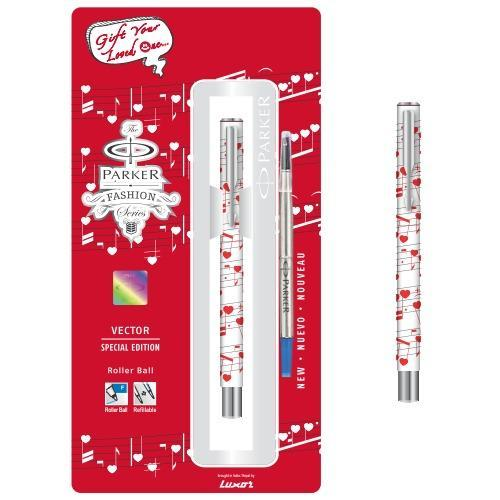 White (with Love Theme) Parker Special Edition Vector Standard Refillable Rollerball Pen