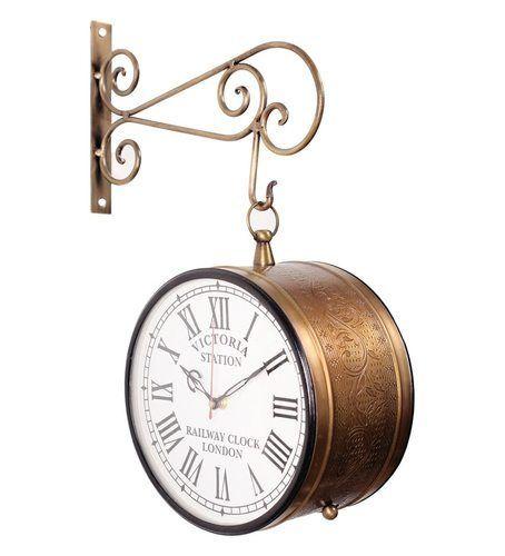 double sided railway station platform brass antique clock