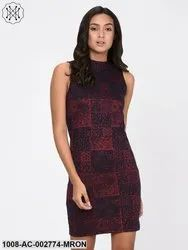 Blue & Maroon Textured Knit Bodycon Dress for Women