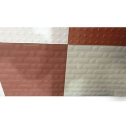 Matt White And Red 12x12 inch Square Ceramic Floor Tile, Thickness: 5-10 mm