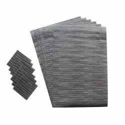 Grey Rectangular Vinyl Table Mats, 6 Pieces