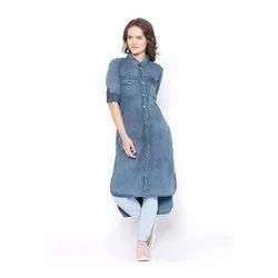 Long Half Sleeve Ladies Denim Dresses