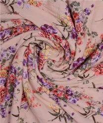 Pink & Purple Flower Printed Cotton Crepe Fabric