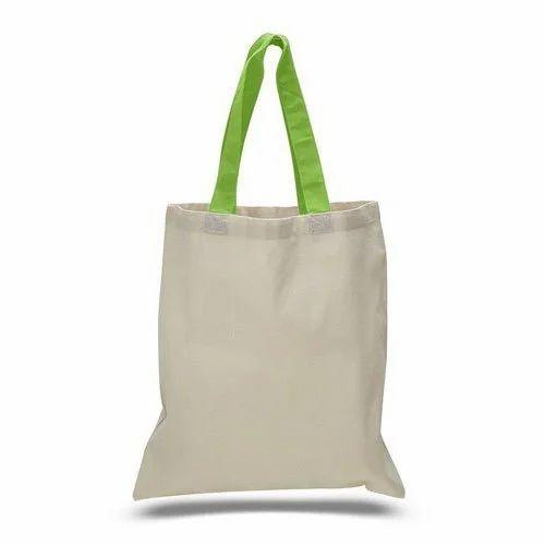 d9612e60b4 White, Green Plain Canvas Tote Bag, Rs 25 /piece, Radha Rani ...