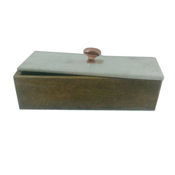Wooden and Marble Box with Metal Knob
