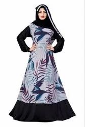 Printed Georgette and Lycra Abaya Burqa with Hijab for Women
