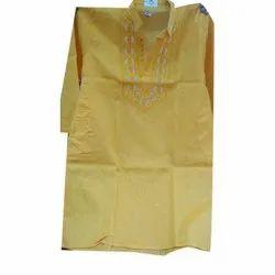 Casual Cotton Men Yellow Kurta, Size/Dimension: 38-44