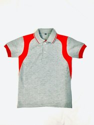 Cotton Summer Collar Neck School T Shirts, Size: Small, Medium And Large