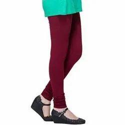 Casual Plain Ladies Cotton Lycra Maroon Churidar Leggings
