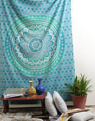Indian Blue Floral Print Mandala Cotton Hanging Tapestry