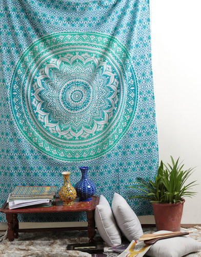 Rectangle Pure Cotton Indian Blue Floral Print Mandala Cotton Hanging Tapestry