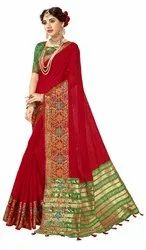 Designer Festive Wear Cotton Silk Weaving Saree, 6.3 mtr