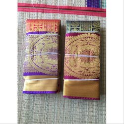 Cotton Jacquard Saree, 6.3 m (with blouse piece), Packaging Type: Plastic Bag