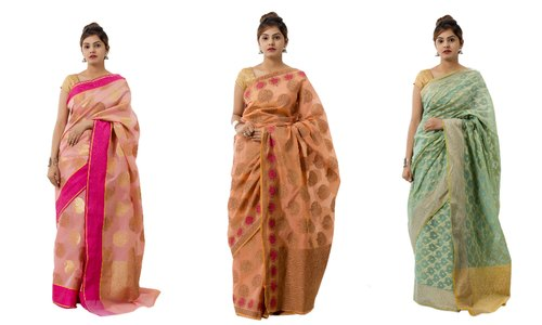 5-7 Color Festive Wear Brocade Silk Saree With Unstitched Blouse, Machine Made, 5.5 m (with Blouse piece)