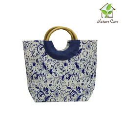Jute Bag With Round Wooden Cane Handle