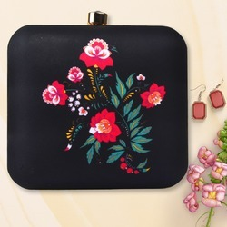 Beautiful Flower Printed Box Clutch