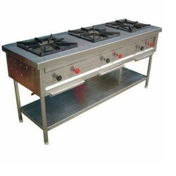 Stainless Steel Indian Three Burner Gas Range, For Hotels And Restaurants