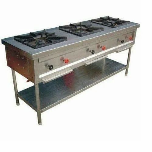 Stainless Steel Indian Three Burner Gas Range