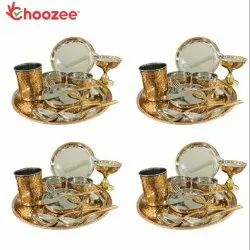 Choozee - Copper Thali Set of 4 (48 Pcs) Plate, Bowl, Spoon, Glass, Ice-Cream Cup, Knife & Fork
