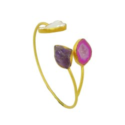 Amethyst Gemstone Gold Plated Cuff Bracelet Handmade Adjustable Bangle