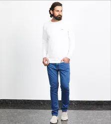Besimple Men's White Full Sleeve T-Shirt