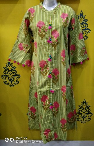 Single Non-Stretchable Cotton Bell Sleeves Kurti