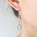 Labradorite Gemstone Dangle Handmade Long Earrings