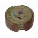 Soapstone Painted Coaster Set, Size: 4