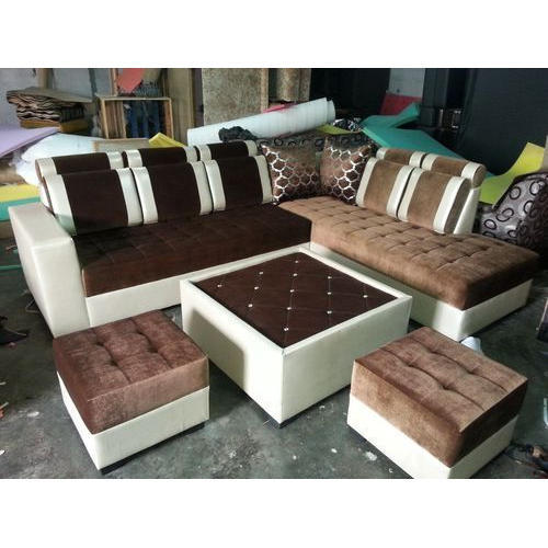 Sofa Centre Table: Wood 8 Seater Sofa Set With Center Table And 2 Puffy, Rs