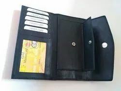 Ladies Leather Black Plain Wallet