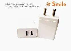 3.1 Amp White, Traveling Charger With Dual USB