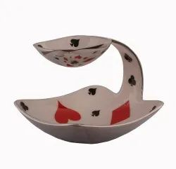 Serving Platter Tray Bridge Poker Playing Cards Design - Attached Bowl For Dips/Chutney