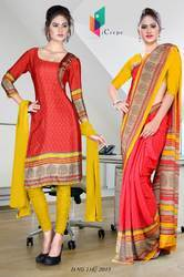 Red and Yellow Italian Crepe Uniform Saree Kurti Combo