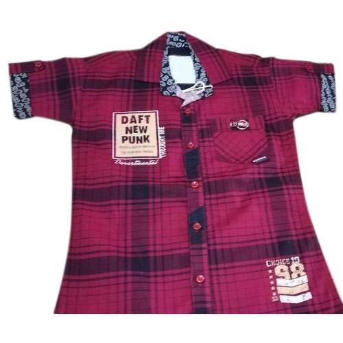 Cotton Half Sleeves Kids Party Wear Check Shirt, Packaging Type: Packet