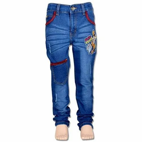 Casual Wear Stretchable Kids Designer Denim Jeans, Size: 24 To 40