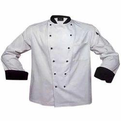 Cotton White With Black Border And Black Collar Hotel Chef Coat, Size: S - XXL