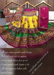 Cotton Navratri Double Flair Chaniya Choli, 2.5 Meter, Elder