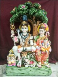 White Marble Shivparivar Statue