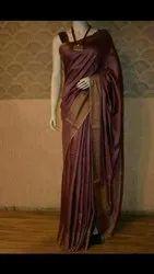 Party Wear Plain Munga Silk Sarees, 6.3 m (with blouse piece)