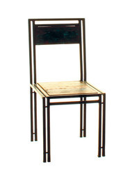 Dinning Chair With Metal Frame Reclaimed Wood Seat